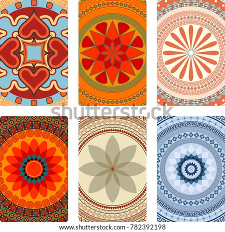 Colorful vector mandalas for playing cards back