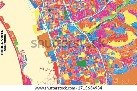 Colorful vector map of Chula Vista, California, U.S.A.. Art Map template for selfprinting wall art in landscape format.