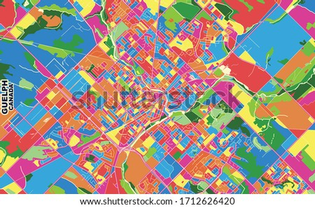 Colorful vector map of Guelph, Ontario, Canada. Art Map template for selfprinting wall art in landscape format.