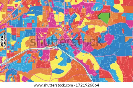 Colorful vector map of Vista, California, USA. Art Map template for selfprinting wall art in landscape format.