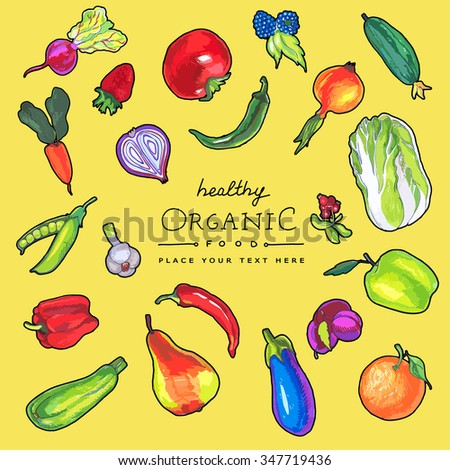 Colorful vector  marker pen drawn vegetable and fruits. Organic food card design.   #347719436