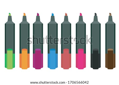 Colorful Vector markers set on a white background, a photo of markers for drawing different colors Isolated on white markers set. Realistic markers set for design.