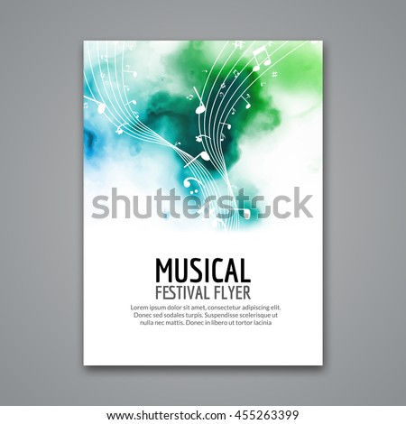 Colorful vector music festival concert template flyer. Musical design poster with notes. Choir  melody classical sound brochure