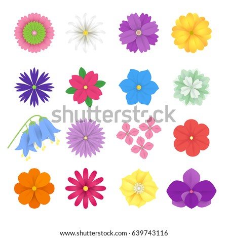 Colorful vector paper flowers set illustration. 3d origami abstract flower icons isolated on white background.Paper art style for banner, poster, promotion, web site, online shopping, advertising. #639743116