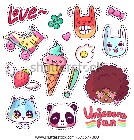 Colorful vector patch badges with animals, characters and things. Hand-drawn stickers, pins in cartoon 80s-90s comics style. Set with african woman, angry bunny, adorable kitten, etc. Part 13 #573677380
