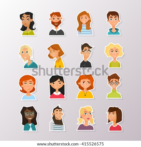 Colorful vector people avatar collection. Vector design of different characters including man and women. Flat character design icon set.