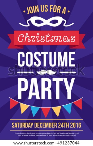 Colorful vector poster, invitation, banner or flyer template for Christmas costume party. Flat style. Stock photo ©