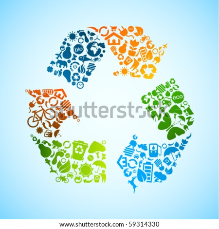 Colorful vector recycle icon
