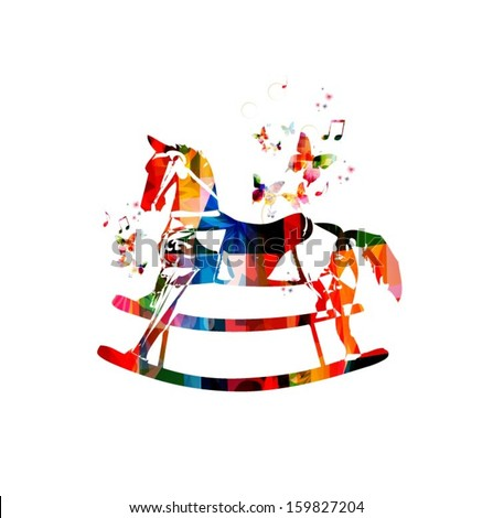 Colorful vector rocking horse background with butterflies.
