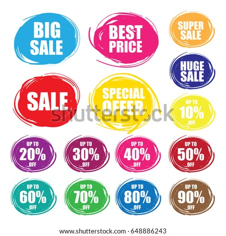 Colorful Vector Sale Tags In Grunge Style. Big Sale,Sale, Special Offer,Super sale, Best Price,Huge Sale,90%off,80%off, 70% off,60%off, 50% off,40%off, 30% off, 20% off,10%off.