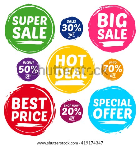 Colorful Vector Sale Tags In Grunge Style. Big Sale, Special Offer, Hot Deal, Best Price, Super Sale, 70% off, 50% off, 30% off, 20% off.