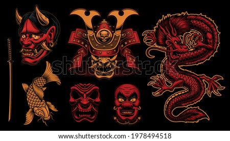 Colorful vector Samurai clipart, vector illustrations for a Japanese theme.