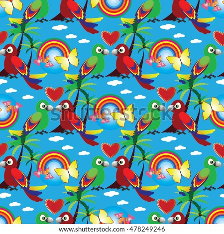 Colorful vector seamless pattern background wallpaper with green and red cartoon lovebird parrots couple, love hearts,rainbow,white clouds, butterfly,exotic palms..Endless illustration and texture.