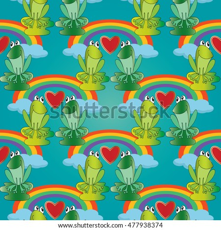 Colorful vector seamless pattern background wallpaper with green cartoon funny love frogs couple, love hearts, rainbow and blue  clouds. Endless illustration and texture.
