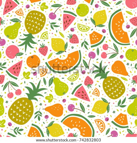 Colorful vector seamless pattern with summer fruits #742832803