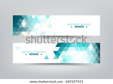Colorful vector set of colorful geometric, abstract mosaic banners.