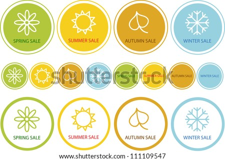 colorful vector set of seasonal shopping labels isolated on white background