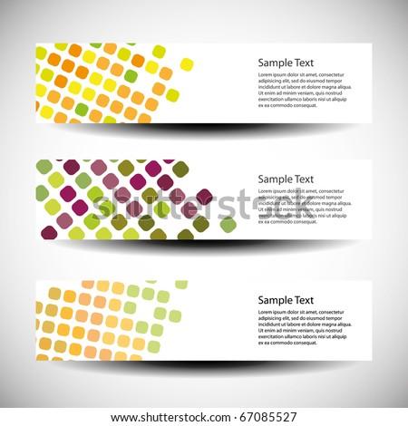 Colorful vector set of three header designs