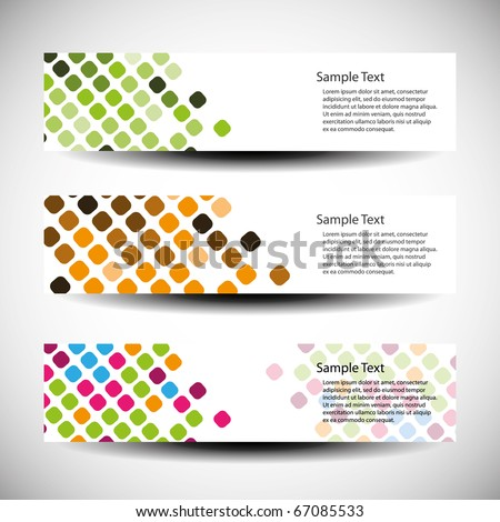Colorful vector set of three header designs - stock vector