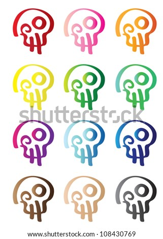 Colorful Vector Skull Symbol Pattern Vector Wallpaper. Vector Illustration of stylized skulls in rainbow colors isolated on white background