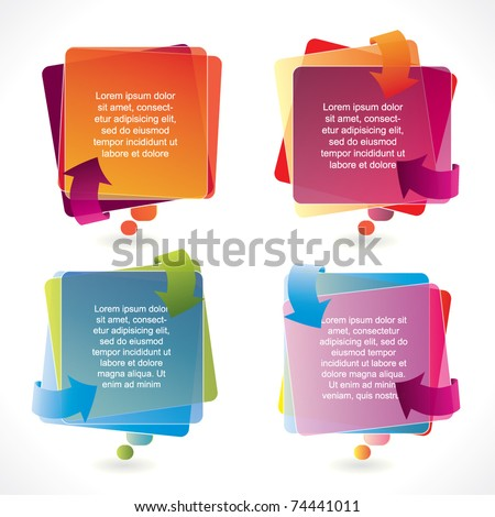 Colorful vector speech bubble set with arrows and transparency