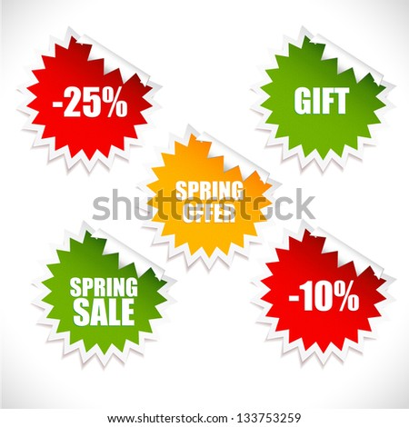 Colorful vector spring sale stickers. Sale. Look at my portfolio to find more