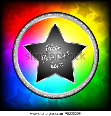 Colorful vector stars with shine background