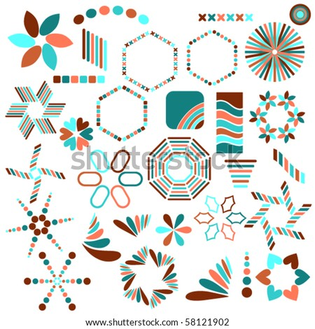 Colorful vector symbol collection over white background