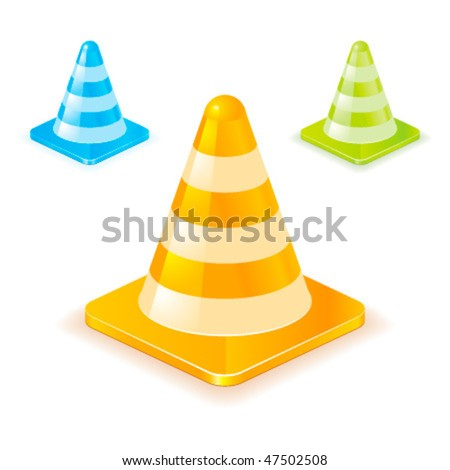 Colorful vector traffic cones
