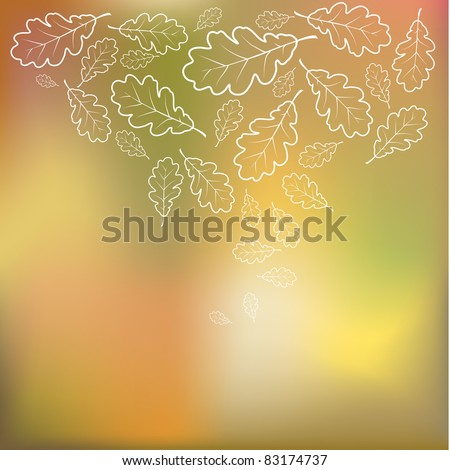 Colorful vector vintage autumn background with oak leafs