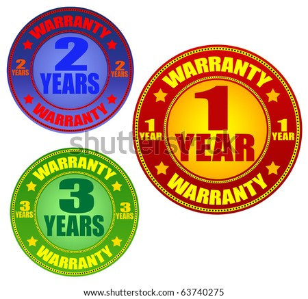 colorful vector warranty labels set on white background