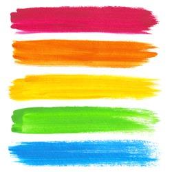 Colorful vector watercolor brush strokes