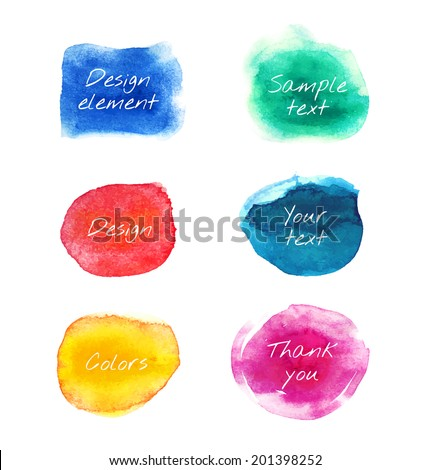 Colorful vector watercolor design elements