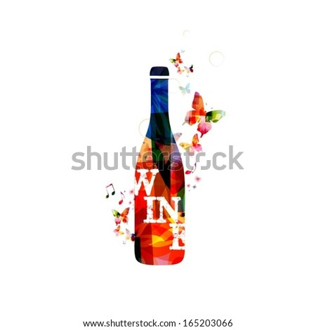 colorful vector wine bottle
