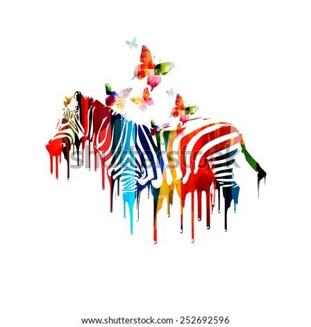 Colorful vector zebra design