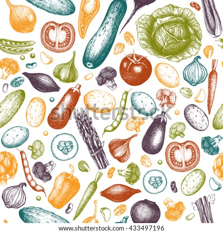 Colorful vegetables pattern. Seamless harvest background. Ink hand drawn healthy food sketch. Vintage illustration.  #433497196