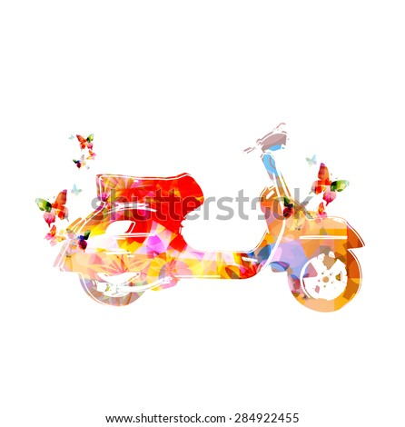 colorful vespa with butterflies