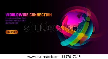 Colorful vibrant globe planet shape banner. Virtual reality space iridescent fluid gradient neon shapes. Liquid splash bubble. Augmented media. Worldwide connection technology vector illustration