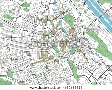 Colorful Vienna vector city map.