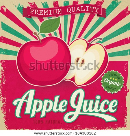colorful vintage apple juice