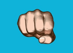 Colorful vintage engraved drawing human hand fist punching gesture towards camera vector illustration isolated on blue background retro art style