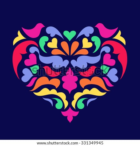 colorful vintage heart illustration with birds and dark blue background