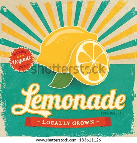 Colorful vintage Lemonade label poster vector illustration