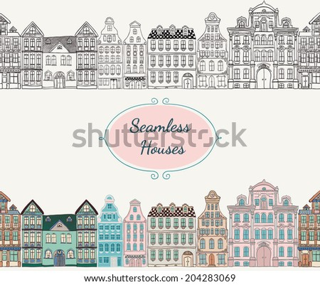 Colorful Vintage Old Styled Hand Drawn Doodle Seamless Houses. Vector Illustration.