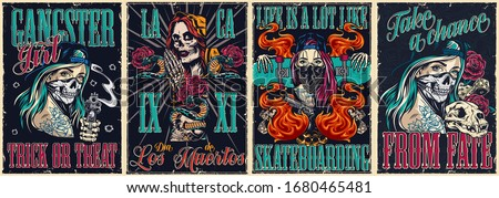 Colorful vintage posters collection with gangster Dia De Los Muertos skateboarding and chicano tattoo style covers vector illustration