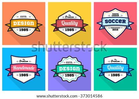 Colorful Vintage Premium quality badge flat set
