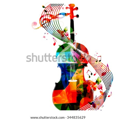 colorful violoncello with music