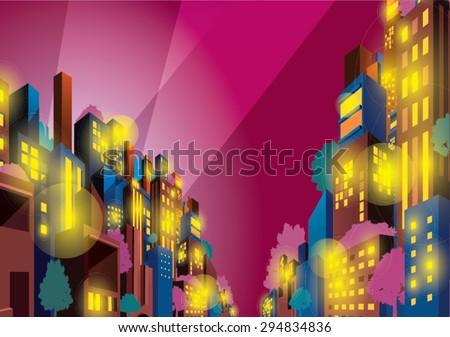 colorful  vivid city buildings