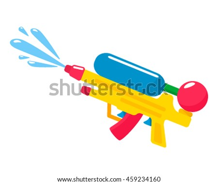 Colorful water gun  isolated on white background. flat vector illustration
