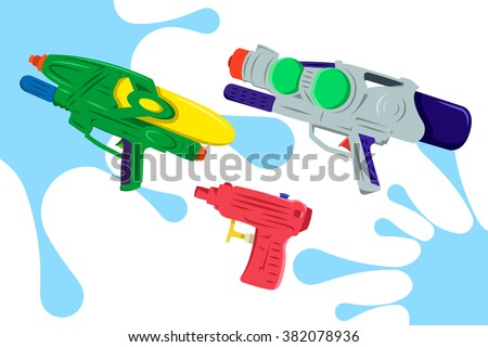 colorful water gun vector pack 2